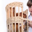 Girl with basket of bread — Stock Photo