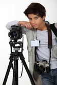 Child press photographer — Stock Photo