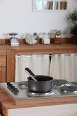 Pan sitting on an electric hob — Stock fotografie