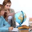Two kids in geography class — Stockfoto #14263371
