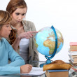 Two kids in geography class — Stock Photo
