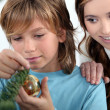 Brother and sister decorating Christmas tree — Stock Photo