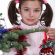 Little girl celebrating Christmas — Stock fotografie
