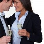 Man and woman flirting — Stock Photo