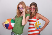 Teenagers wearing beach wear — Stock Photo