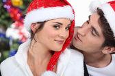 Casal em natal — Foto Stock