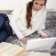Stock Photo: Young woman studying