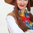 Stock Photo: Womin hippy style fancy dress outfit
