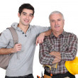 Stock Photo: Younger and older men