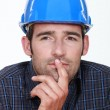 Stock Photo: Closeup of pensive man