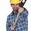 Stock Photo: Aggressive builder with sledge-hammer