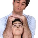 Father joking around with son — Stock Photo