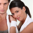 Stock Photo: Couple after fitness session