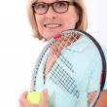 Tennis in the elderly — Stock Photo