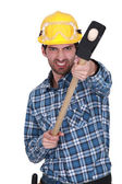Aggressive builder with sledge-hammer — Stock Photo