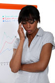 Stressed businesswoman standing by a flip chart — Stock Photo