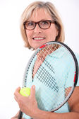 Tennis in der Altenpflege — Stockfoto