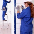Stock Photo: Electricians working in tiled room