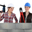 Stock Photo: Two female construction workers