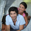 Portrait of couple in tent — Stock Photo #14557693