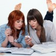 Two young women studying together — Stock Photo