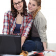 Two girlfriends studying together — Stock Photo #14558325