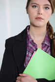 Young businesswoman with file. — Stock Photo