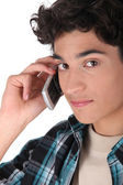 Young man having cellphone conversation — Stock Photo