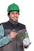 A plumber promoting ecology. — Stock Photo