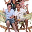 Royalty-Free Stock Photo: Friends in a hammock