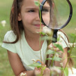 Girl looking through magnifying glass — 图库照片