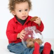 Stock Photo: Portrait of infant eating cookies