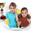 Children with glass and basketball — Stock Photo