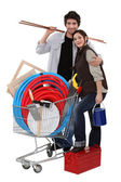 Couple buying DIY materials — Stock Photo