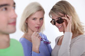 Women staring at the object of their desire — Stock Photo