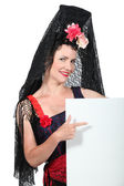 Woman with black mantilla — Stock Photo