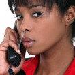Portrait of black businesswoman on the phone — Stock Photo