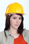 A suspicious construction worker — Stock Photo