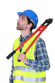 Whistling construction worker — Stock Photo