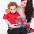 Mother and Child with cookie jar — Stock Photo