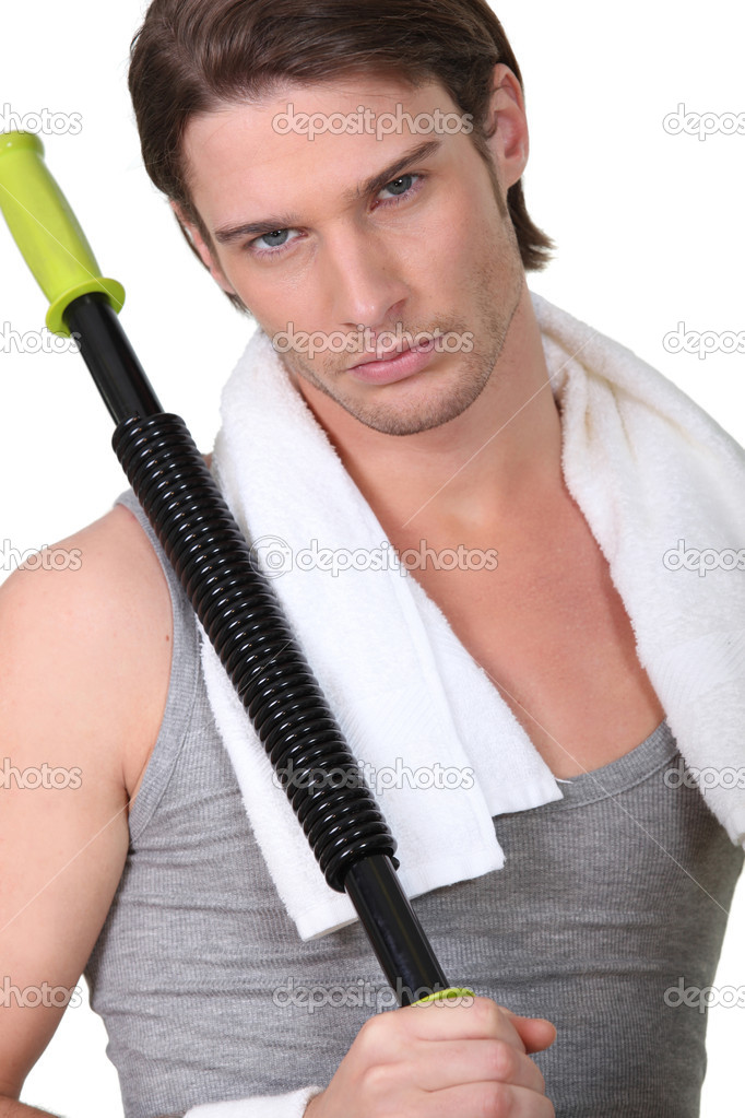 Sexy guy training in the gym — Stock Photo #14609269