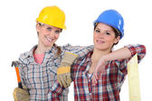 Female carpenters — Stockfoto