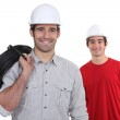 Electrician and his co-worker — Stock Photo