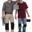 Two men preparing to tile bathroom — Stock Photo #14665023