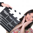 Actress preparing for the next take in filming — Stockfoto