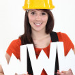 Tradeswomembracing technology — Stock Photo #14674725