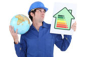 A manual worker promoting reducing carbon emissions. — Stock Photo