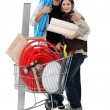 Couple shopping in DIY store — Stock Photo