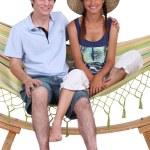 Teen Couple on hammock — Stock Photo