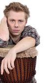 Man sat with bongo — Stock Photo